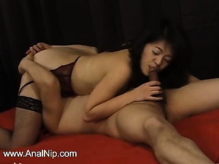 cautiously hairy Japanese girl anal fuck