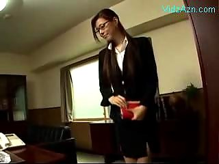 Secretary In Costume Giving Blowjob For Her Boss Cum To Mouth Swallowing In The Office