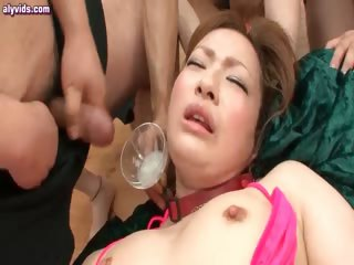 Asian cutie gets rubbed in line up