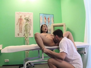 Innocent busty Asian casing bangs doctor