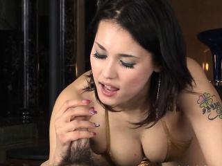 Oriental pussy fingered while she bows over in lingerie