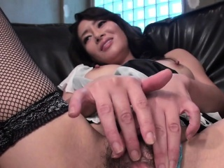 Asian bitch pokes the brush fat pink flaps down big dildo