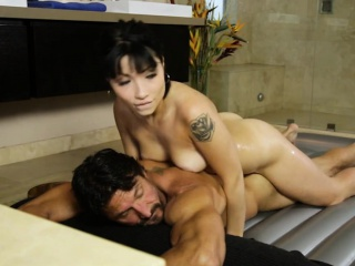 Hot masseuse Rina Ellis gives massage added to fucked by client