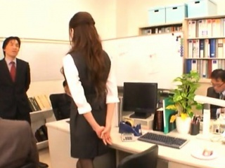 Shy babe enchants say no to lewd of age colleague in the office