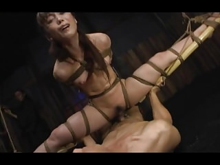 A bound Japanese lady got hung with the addition of fucked