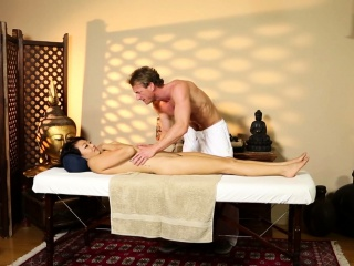 Oriental babe massaged and pounded