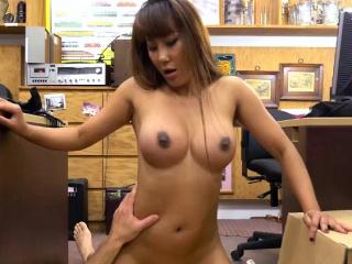 Busty Asian Tiffany fucks on the floor