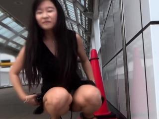Asian pisses for voyeur connected with public