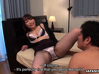 Japanese Yui Ayana is gently sniffing dick saturated