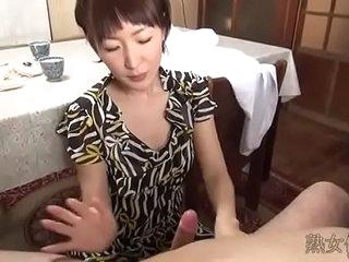 Japanese intake woman handjob