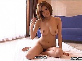 Asian office slattern Yukina rubbing hard on her soaking cunt