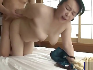 Plump Big Pest Japanese Mom and Lassie Creampie