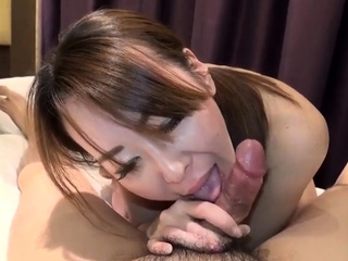 Japanese schoolgirl gives a pov blowjob