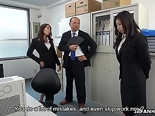 Cute Japanese witch makes her redhead coworker masturbate thither orgasm