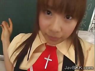 Innocent schoolgirl from Japan tastes the brush teachers rod