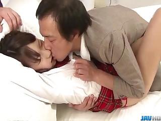 Dashing threesome along schoolgirlShiori Uta