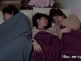 japanese teen fucked next to her sister sleep