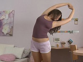 Asian girl cleave to door