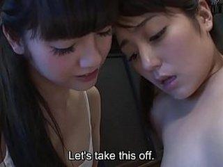 Subtitled JAV CFNF Japanese schoolgirl lesbian foreplay