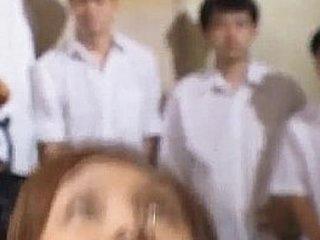 Spoiled Asian teen Azusa Ayano gangbanged in hot bukkake sex scenes