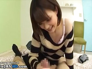 Jav adorable teen in stockings takes care of her bf