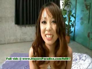 Asuka innocent lovely asian girl enjoys getting the brush pussy fingered